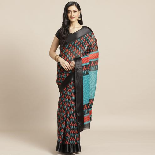 Imposing Black Colored Casual Wear Printed Cotton Blend Saree