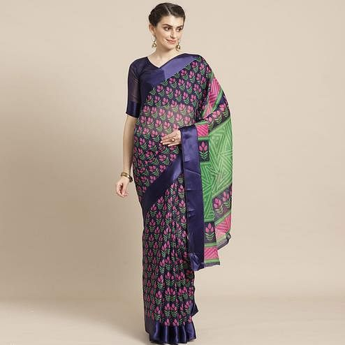Lovely Navy Blue Colored Casual Wear Printed Cotton Blend Saree