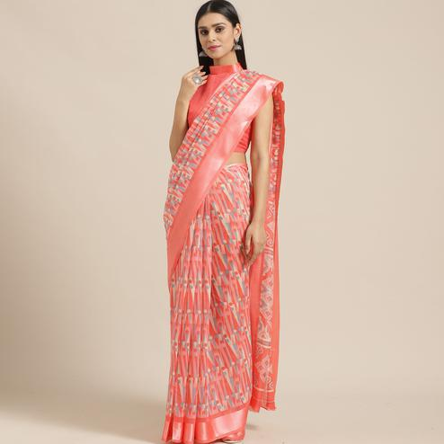 Impressive Peach Colored Casual Wear Printed Cotton Blend Saree