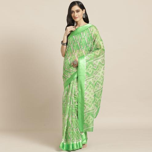 Mesmerising Green Colored Casual Wear Printed Cotton Blend Saree