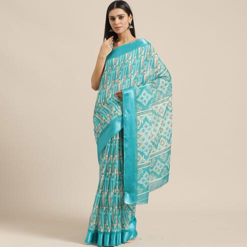 Pleasance Sky Blue Colored Casual Wear Printed Cotton Blend Saree
