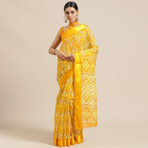 Breathtaking Mustard Colored Casual Wear Printed Cotton Blend Saree