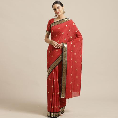Arresting Red Colored Festive Wear Woven Poly Georgette Saree