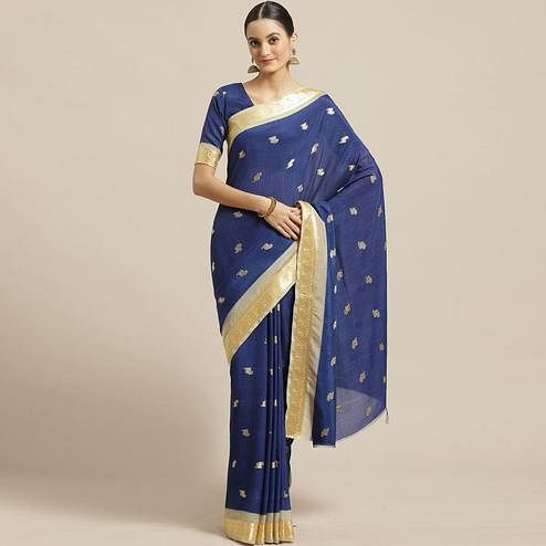 Desirable Blue Colored Festive Wear Woven Poly Georgette Saree