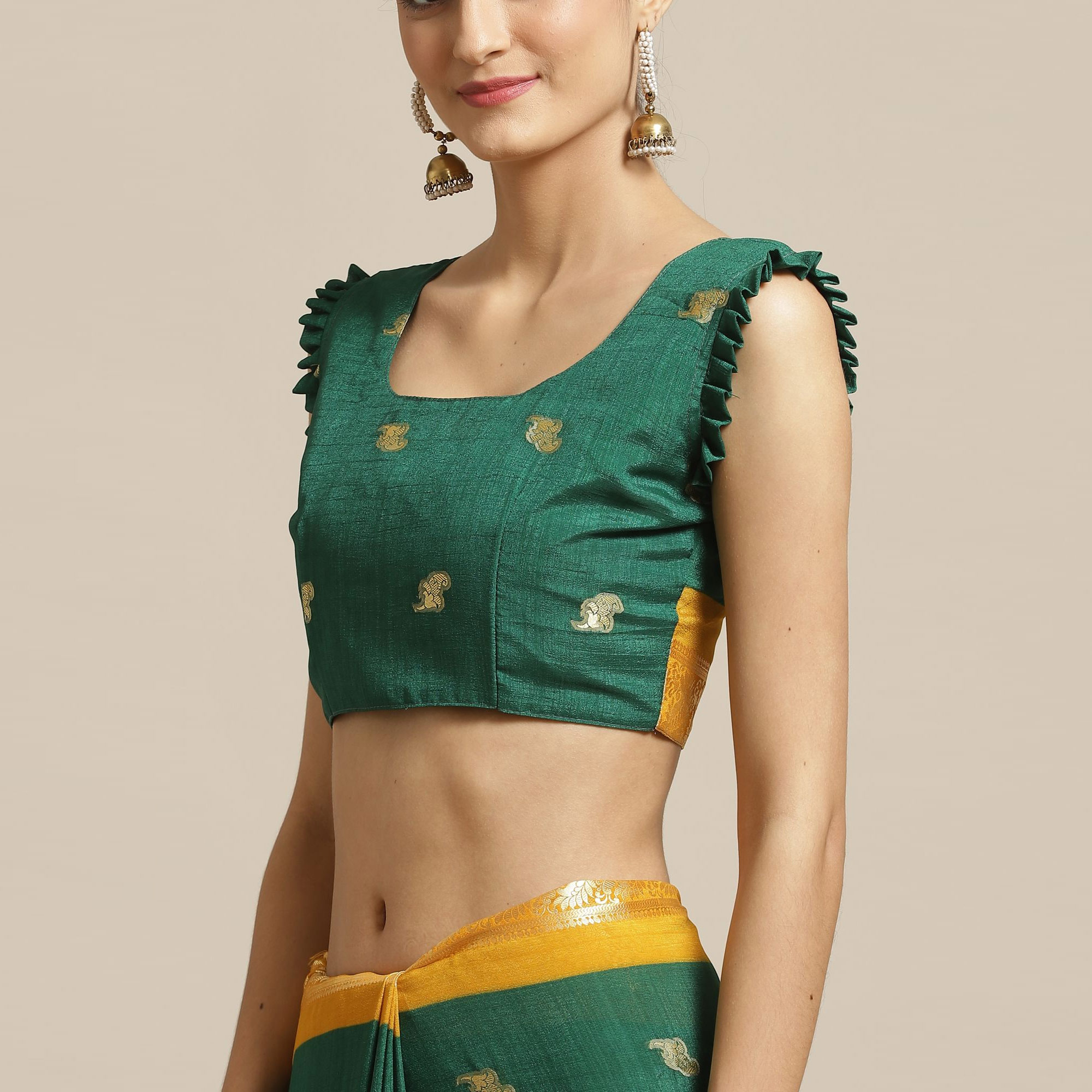 Sophisticated Green Colored Festive Wear Woven Poly Georgette Saree