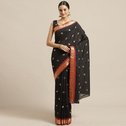Trendy Black Colored Festive Wear Woven Poly Georgette Saree