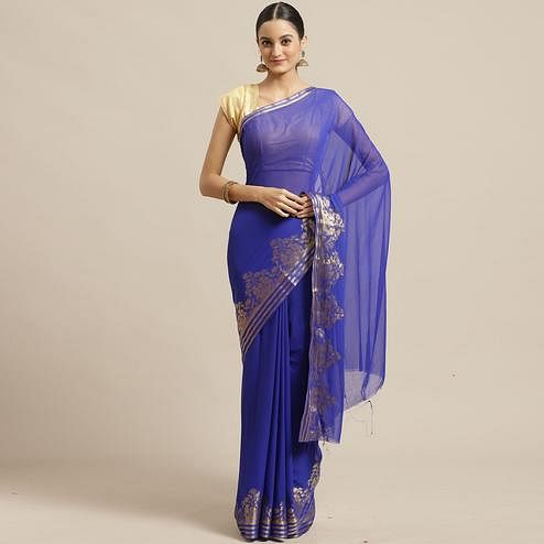 Exceptional Blue Colored Festive Wear Woven Chiffon Saree