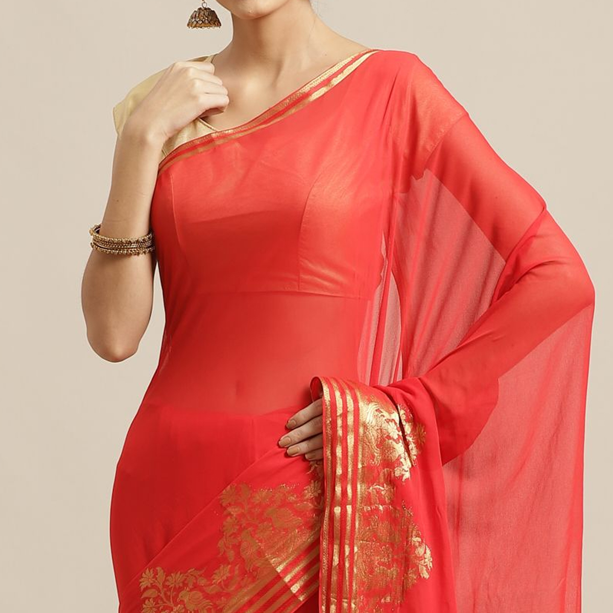 Gleaming Red Colored Festive Wear Woven Chiffon Saree