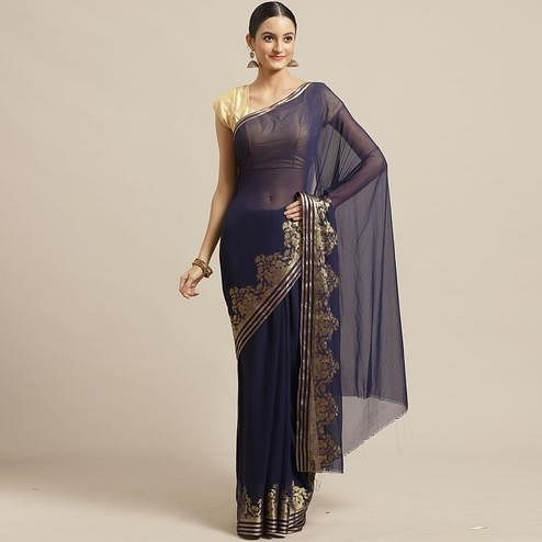 Mesmeric Navy Blue Colored Festive Wear Woven Chiffon Saree
