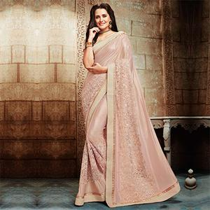 Splendid Pink Embroidered Designer Partywear Saree