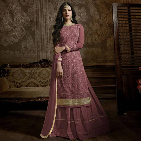 Flaunt Mauve Colored Partywear Embroidered Faux Georgette Palazzo Suit