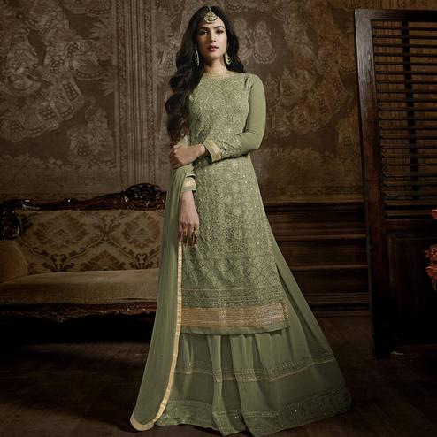 Flirty Green Colored Partywear Embroidered Faux Georgette Palazzo Suit