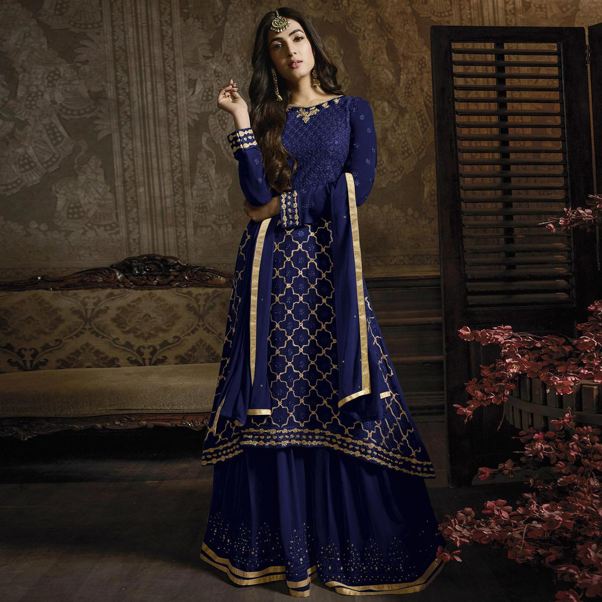 Pleasance Dark Blue Colored Partywear Embroidered Faux Georgette Lehenga Suit