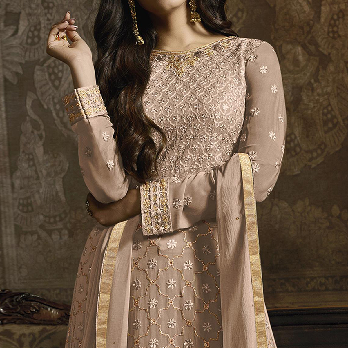 Ethnic Beige Colored Partywear Embroidered Faux Georgette Lehenga Suit