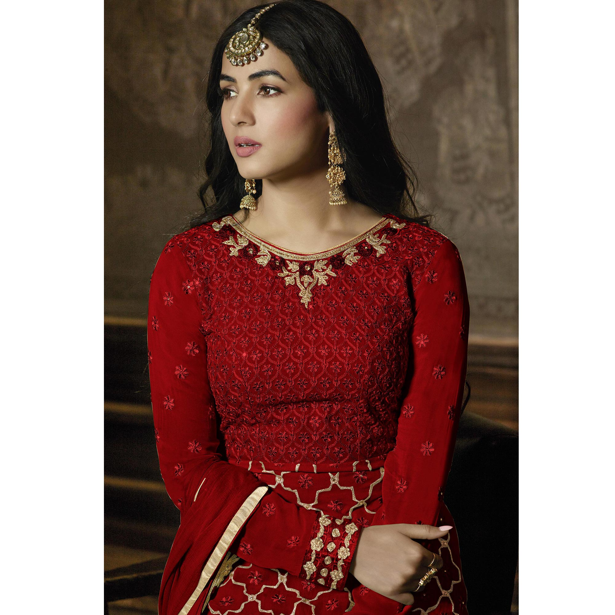 Dazzling Maroon Colored Partywear Embroidered Faux Georgette Lehenga Suit