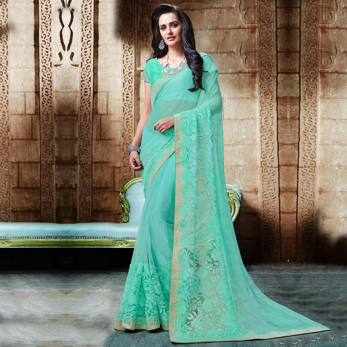 Regal Sea Green Embroidered Designer Partywear Saree