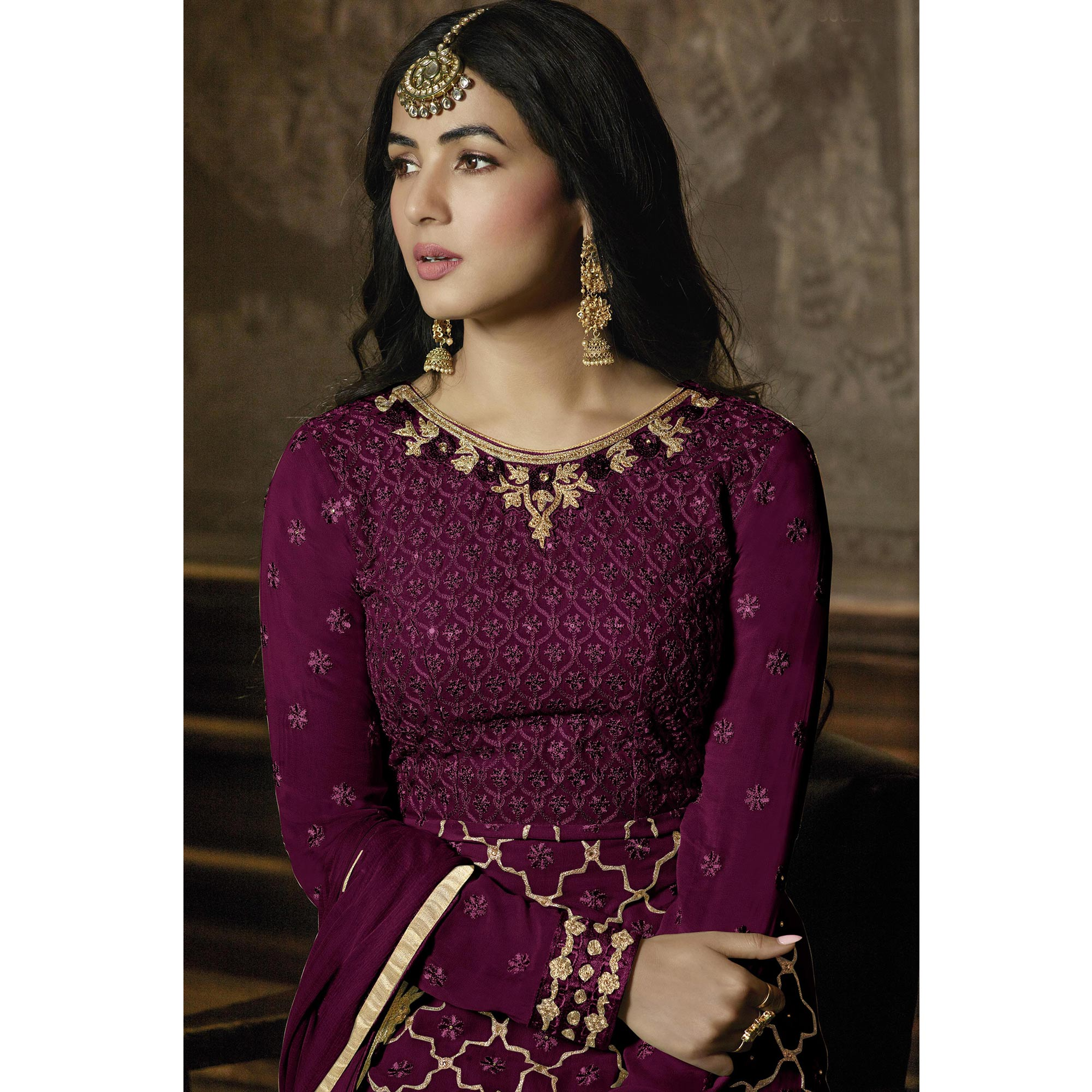 Surpassing Purple Colored Partywear Embroidered Faux Georgette Lehenga Suit