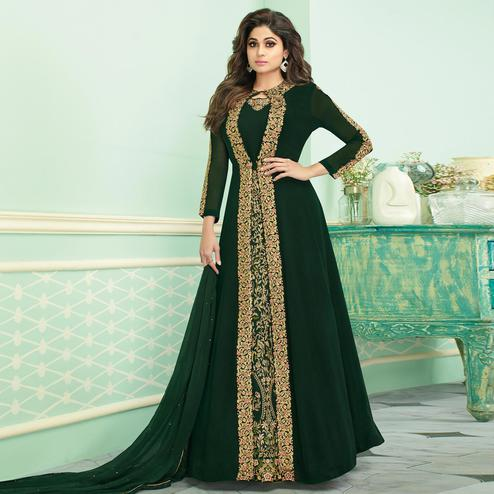 Marvellous Green Colored Partywear Embroidered Faux Georgette Jacket Style Anarkali Suit
