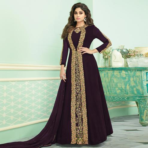 Pretty Dark Wine Colored Partywear Embroidered Faux Georgette Jacket Style Anarkali Suit