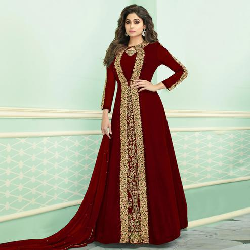 Sensational Maroon Colored Partywear Embroidered Faux Georgette Jacket Style Anarkali Suit