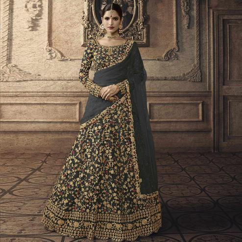 Charming Dark Grey Colored Partywear Embroidered Net Lehenga Choli