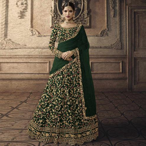 Delightful Green Colored Partywear Embroidered Net Lehenga Choli
