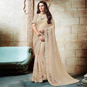 Impressive Cream Embroidered Designer Partywear Saree