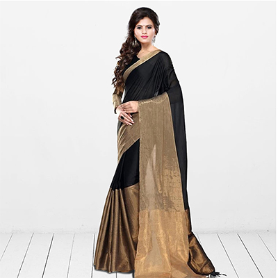 Black Bhagalpuri Silk Weaved Saree