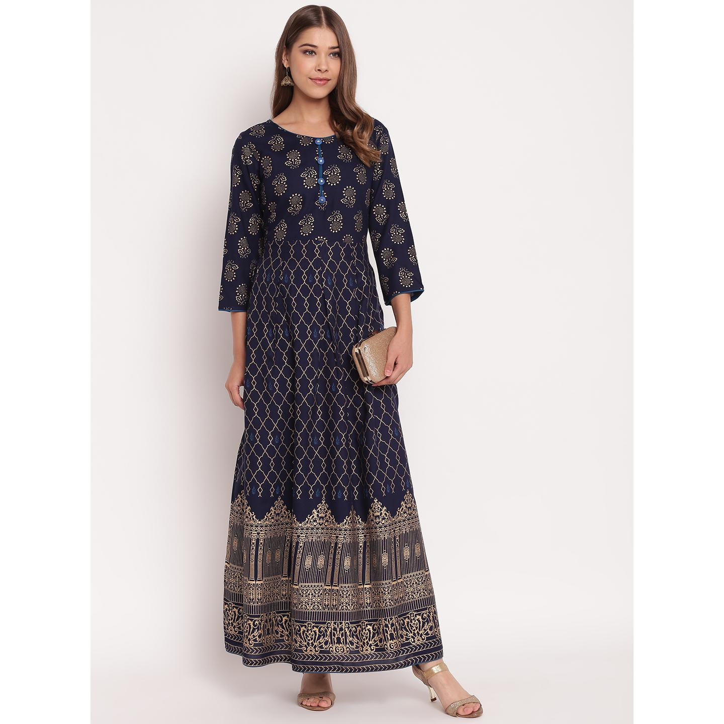 Blissful Navy Blue Colored Party Wear Printed Flared Ankle Length Rayon Kurti