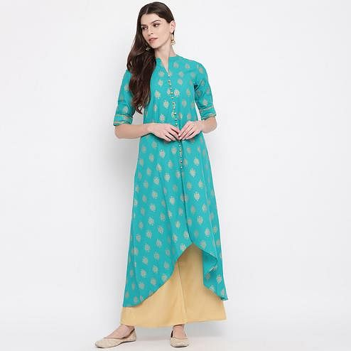 Trendy Turquoise Colored Party Wear Printed High Low Ankle Length Cambric Cotton Kurti