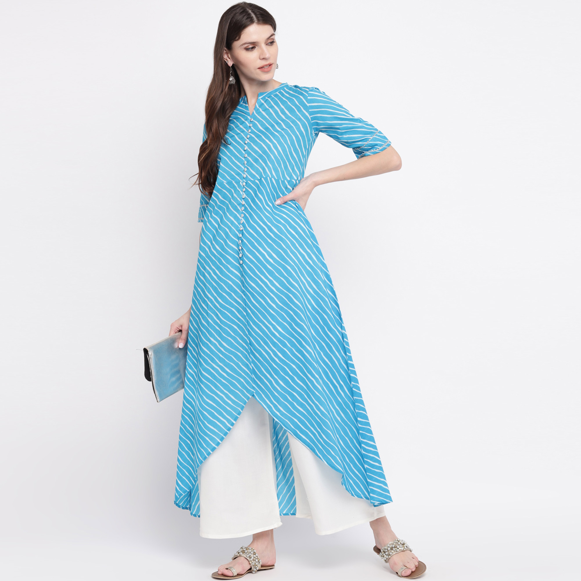 Elegant Blue Colored Casual Wear Stripe Printed High Low Ankle Length Cambric Cotton Kurti