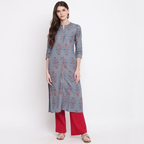 Radiant Grey Colored Party Wear Floral Printed Straight Calf Length Cambric Cotton Kurti