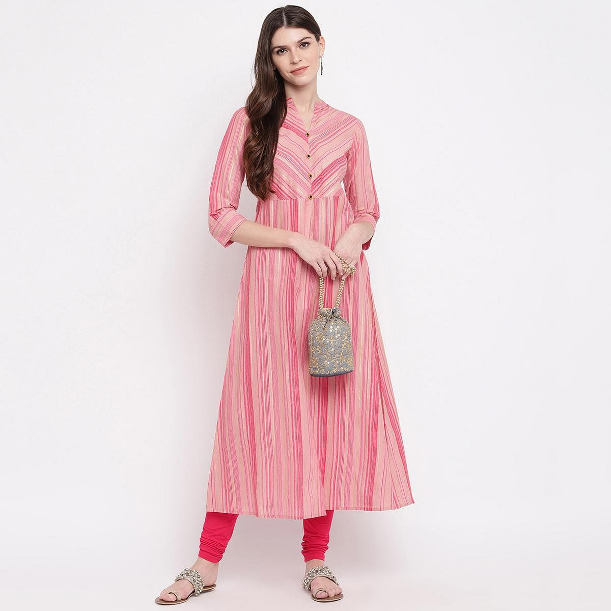 Stylum Opulent Pink Colored Party Wear Stripe Printed A-Line Ankle Length Cambric Cotton Kurti
