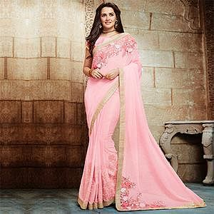 Spectacular Pink Embroidered Designer Partywear Saree