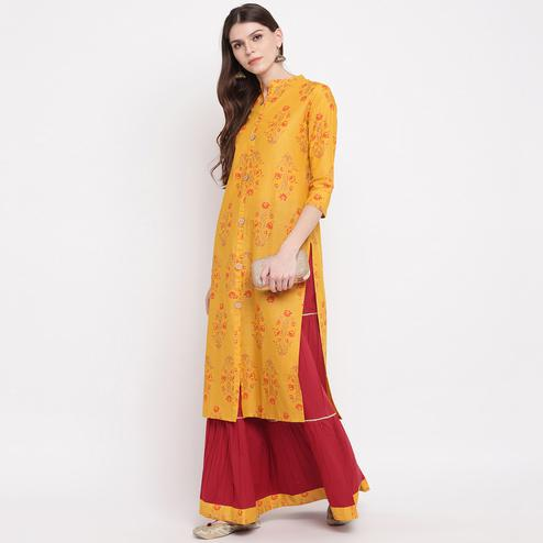 Pleasant Mustard Yellow Colored Casual Wear Floral Print Below Knee Cotton Kurti-Skirt Set
