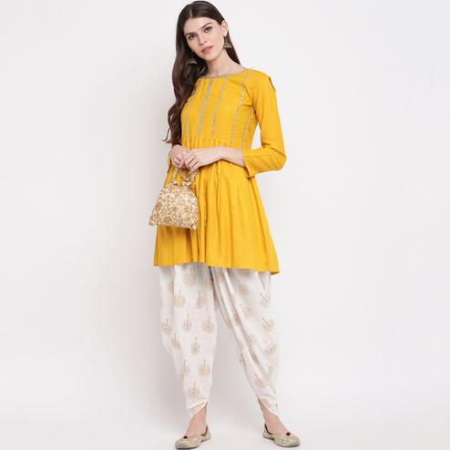 Energetic Yellow Colored Casual Wear Embroidered Thigh Length Rayon Kurti-Dhoti Set