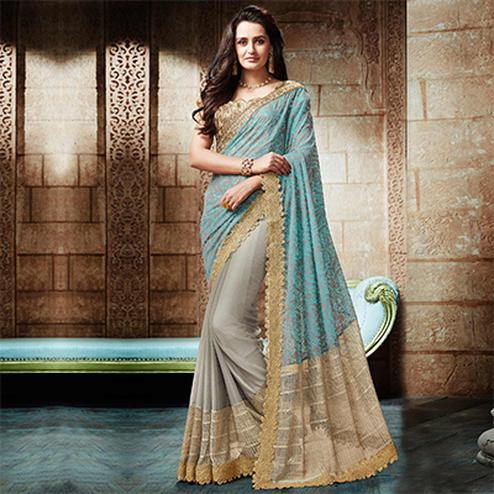 Splendid Grey - Blue Embroidered Designer Partywear Saree