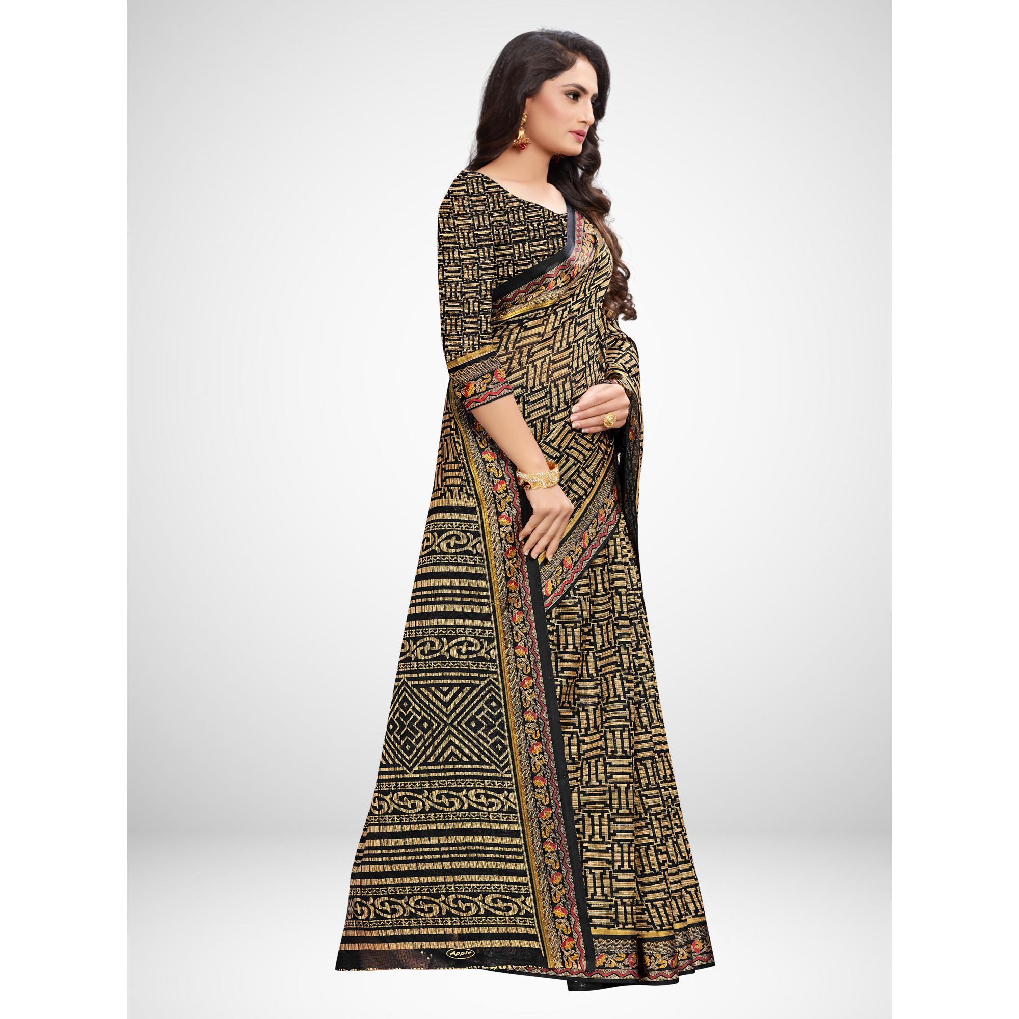 Radiant Black Colored Casual Wear Printed Silk Blend Saree