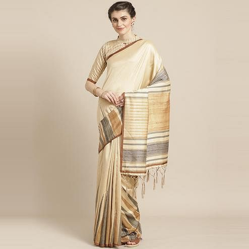 Beautiful Beige-Mustard Colored Casual Wear Printed Silk Blend Saree