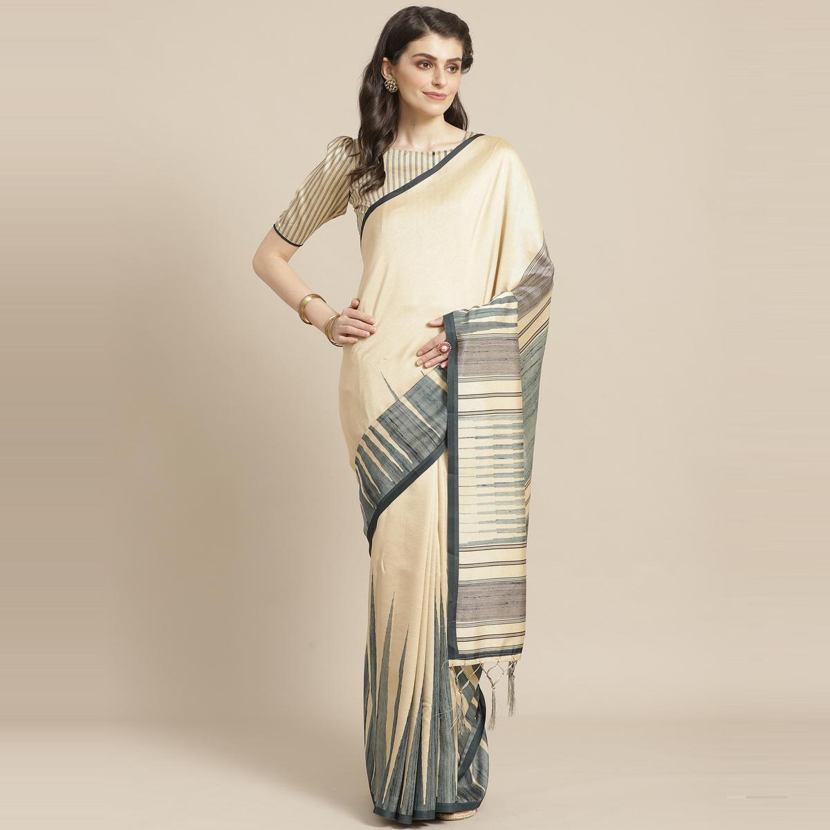 Graceful Beige - Green Colored Casual Wear Printed Silk Blend Saree