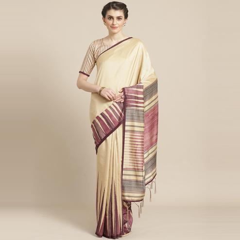 Blooming Beige - Violet Colored Casual Wear Printed Silk Blend Saree