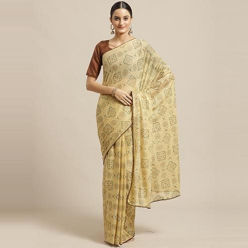 Captivating Beige Colored Casual Wear Printed Chiffon Saree