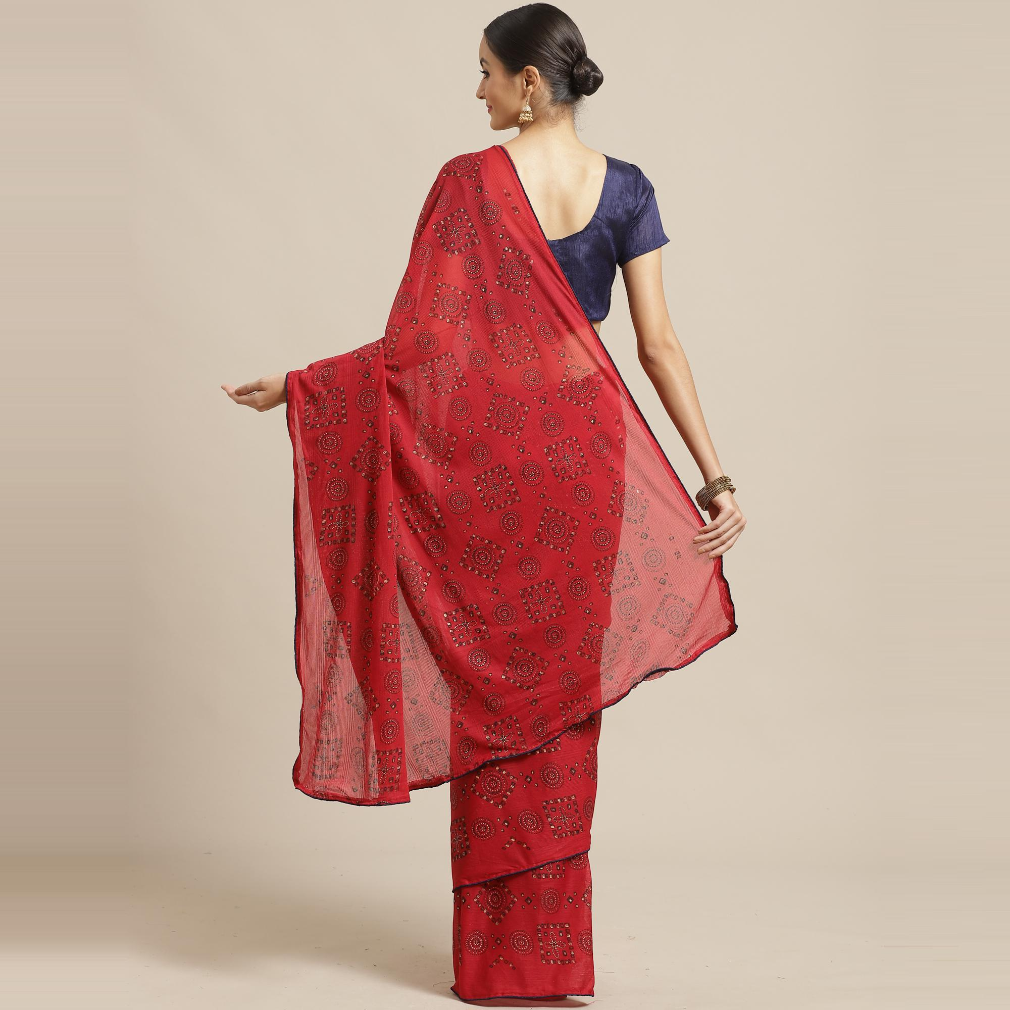 Blissful Red Colored Casual Wear Printed Chiffon Saree