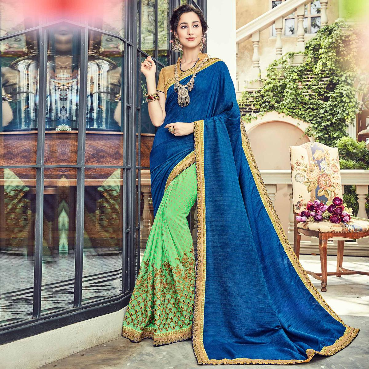 Splendid Green - Blue Embroidered Half - Half Saree