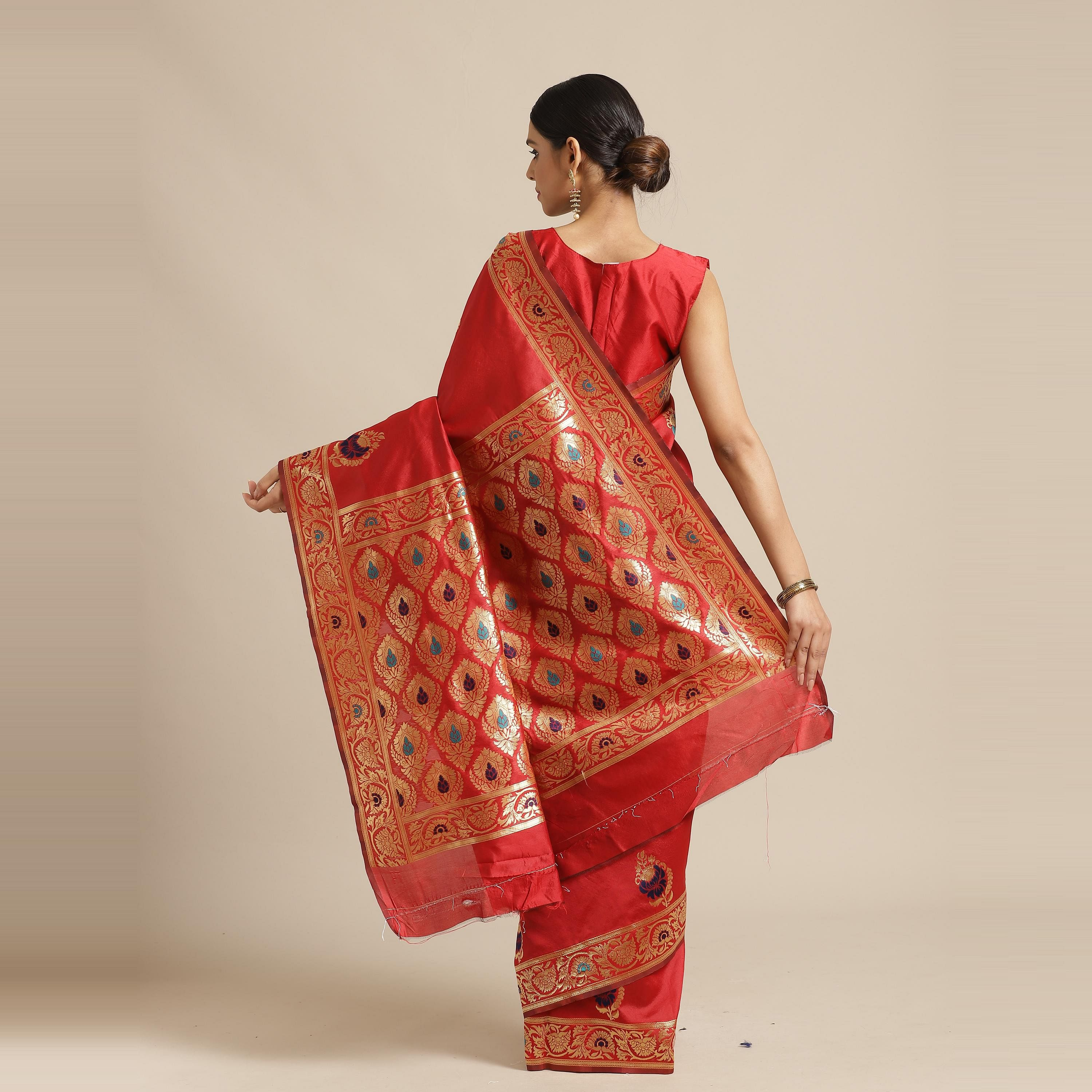 Energetic Red Colored Festive Wear Woven Silk Blend Saree