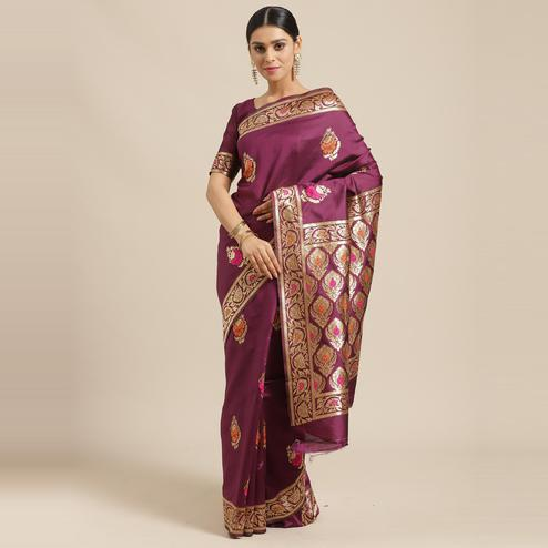 Glowing Magenta Colored Festive Wear Woven Silk Blend Saree