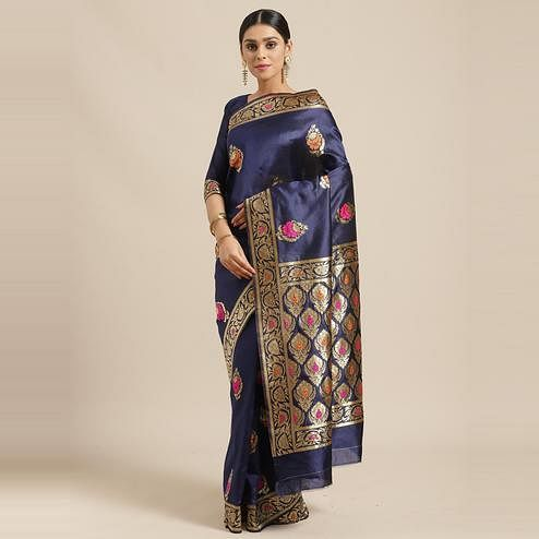 Exceptional Navy Blue Colored Festive Wear Woven Silk Blend Saree