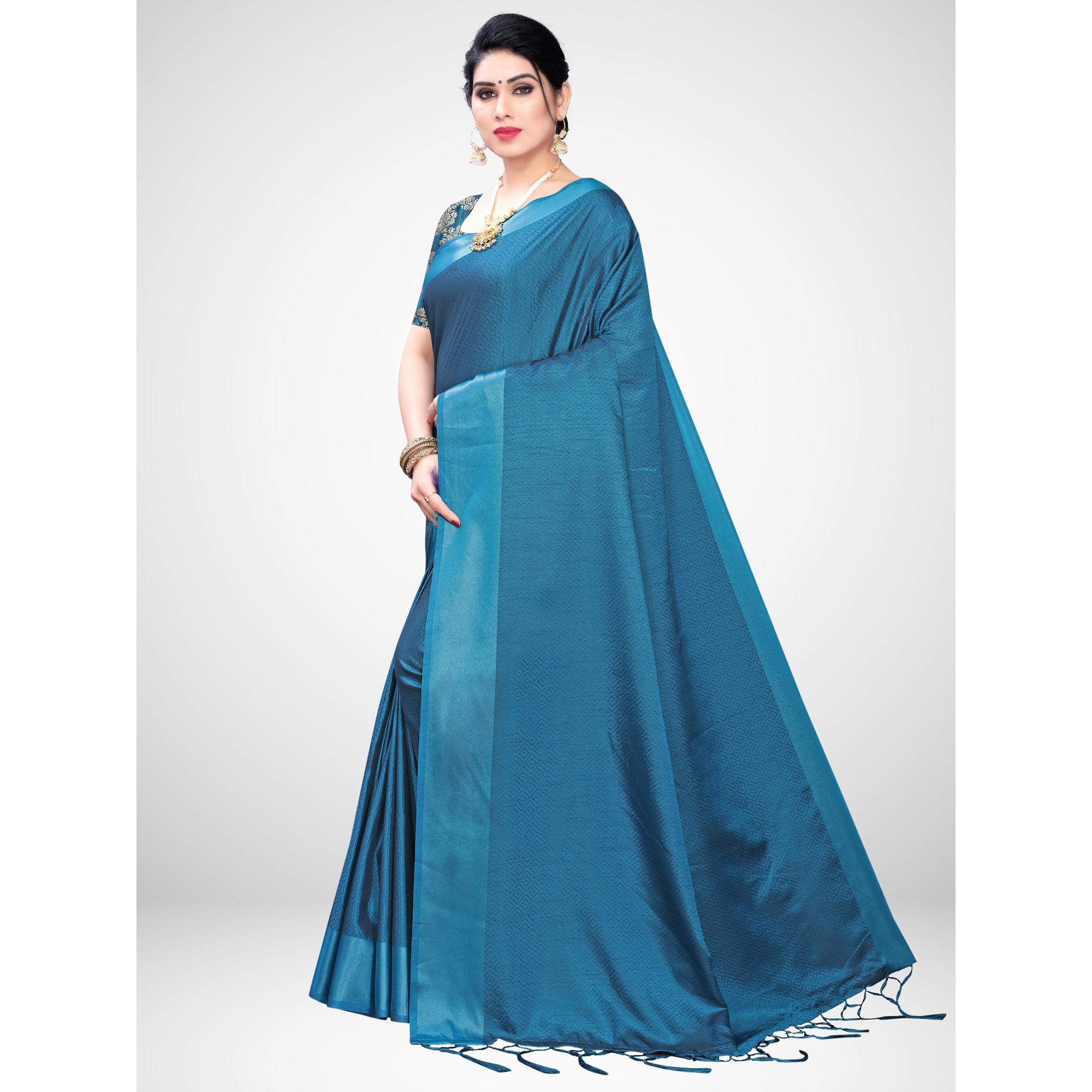 Gleaming Teal Blue Colored Festive Wear Woven Satin Saree