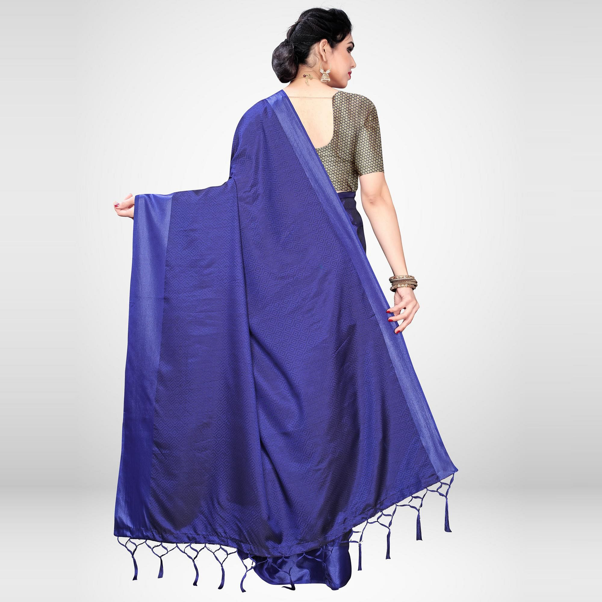 Unique Blue Colored Festive Wear Woven Satin Saree