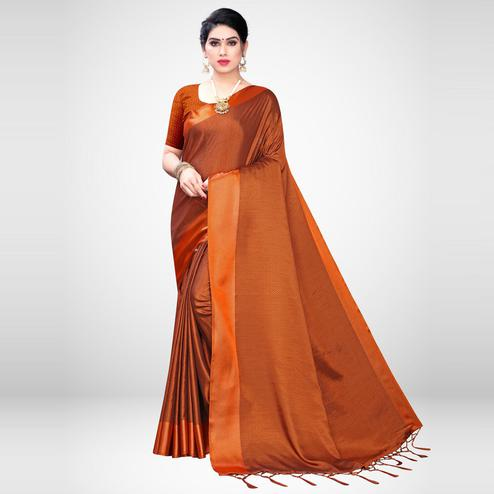 Demanding Rust Colored Festive Wear Woven Satin Saree